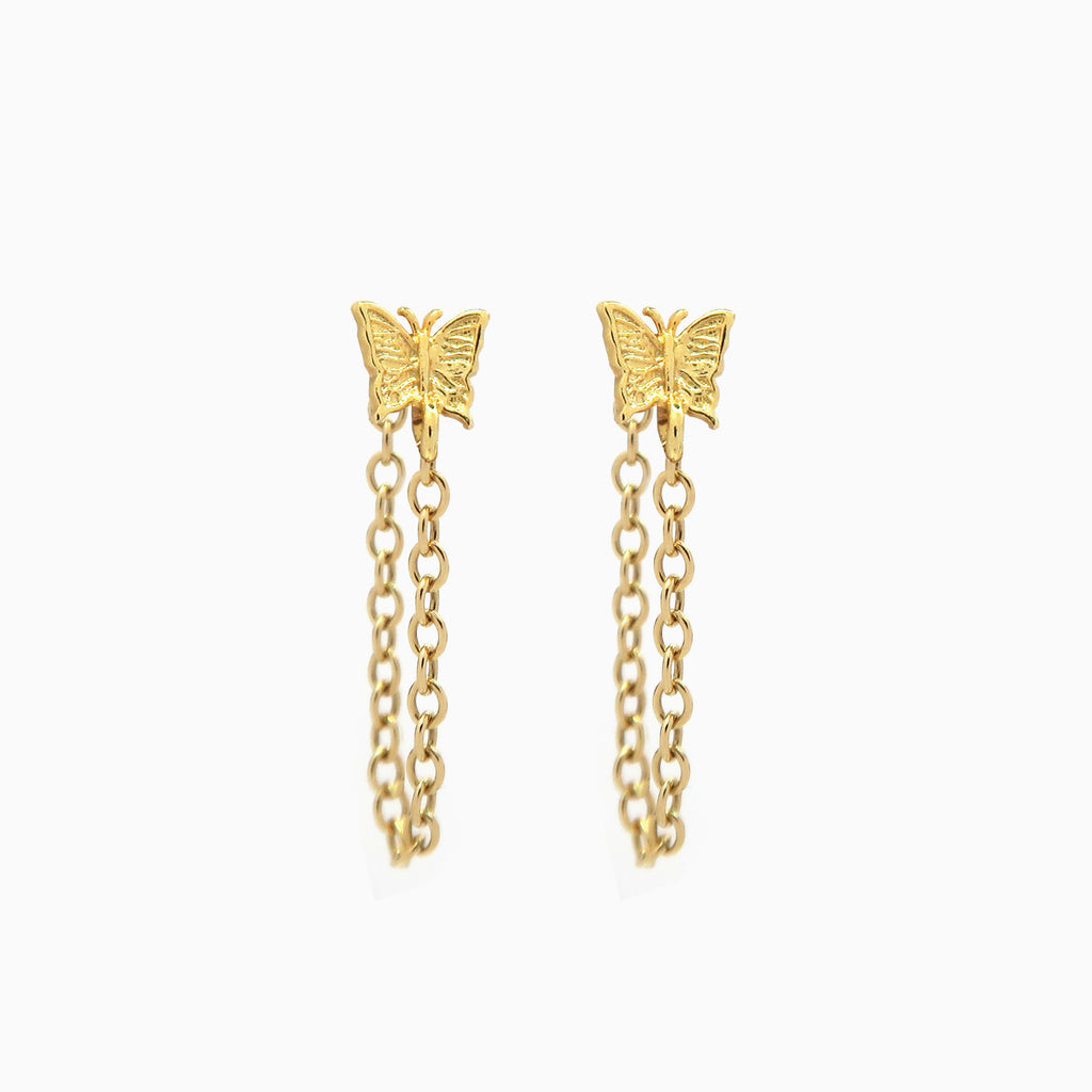 Butterfly Chain Stud Earrings