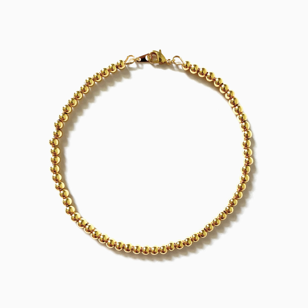gold beaded anklet bracelet