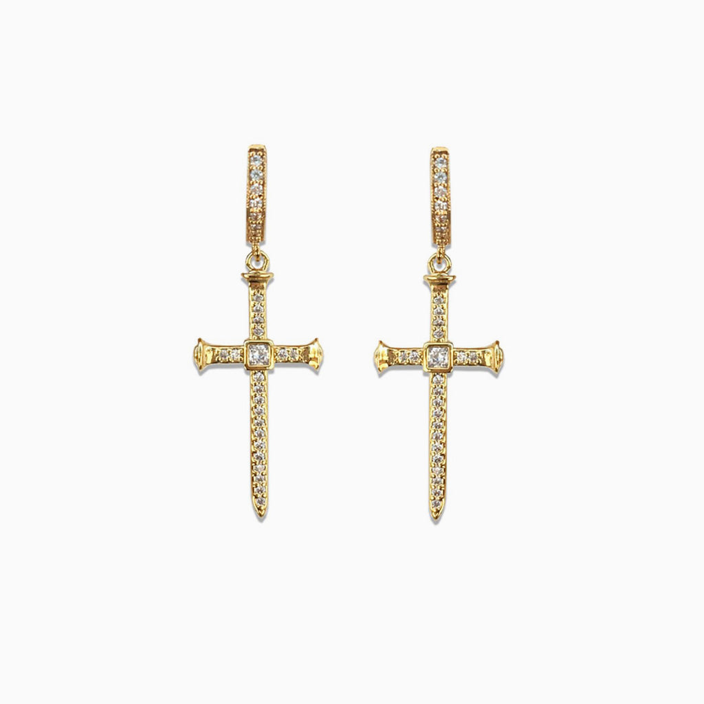 pave cross earrings