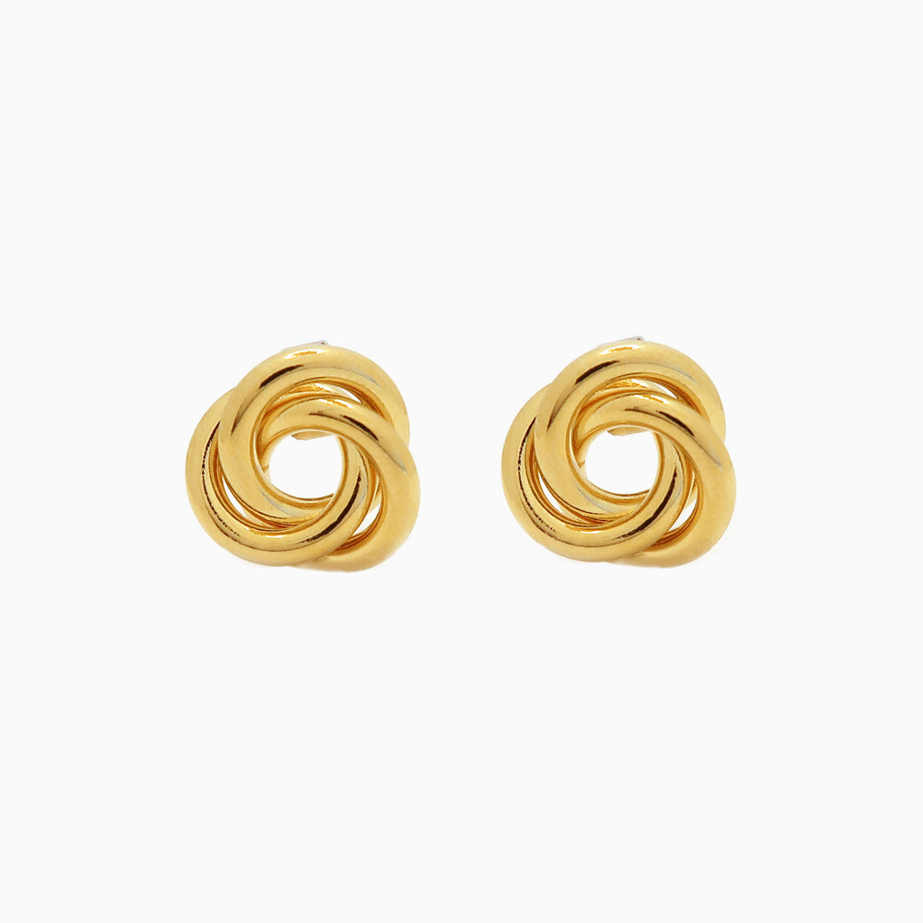 Intertwined Gold Stud Earrings