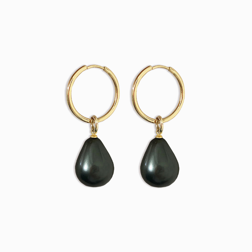 Baroque Pearl Hoops | Gold