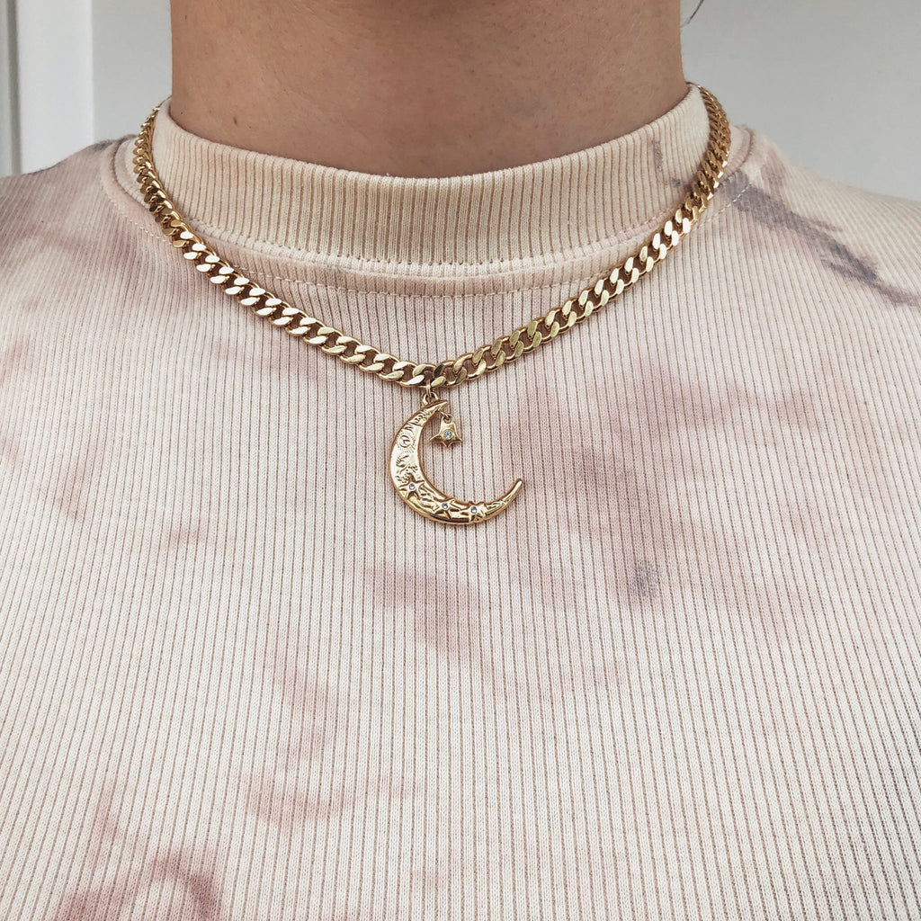 Statement Moon Necklace | Gold