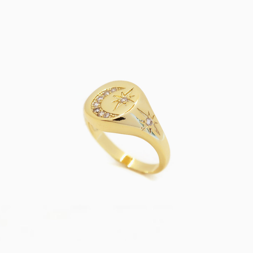 pave north star signet ring