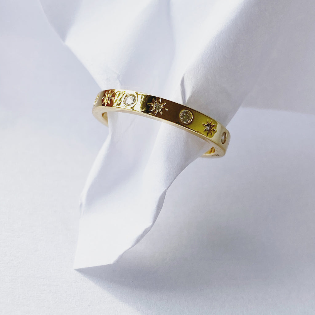 Pave North Star Ring | Gold