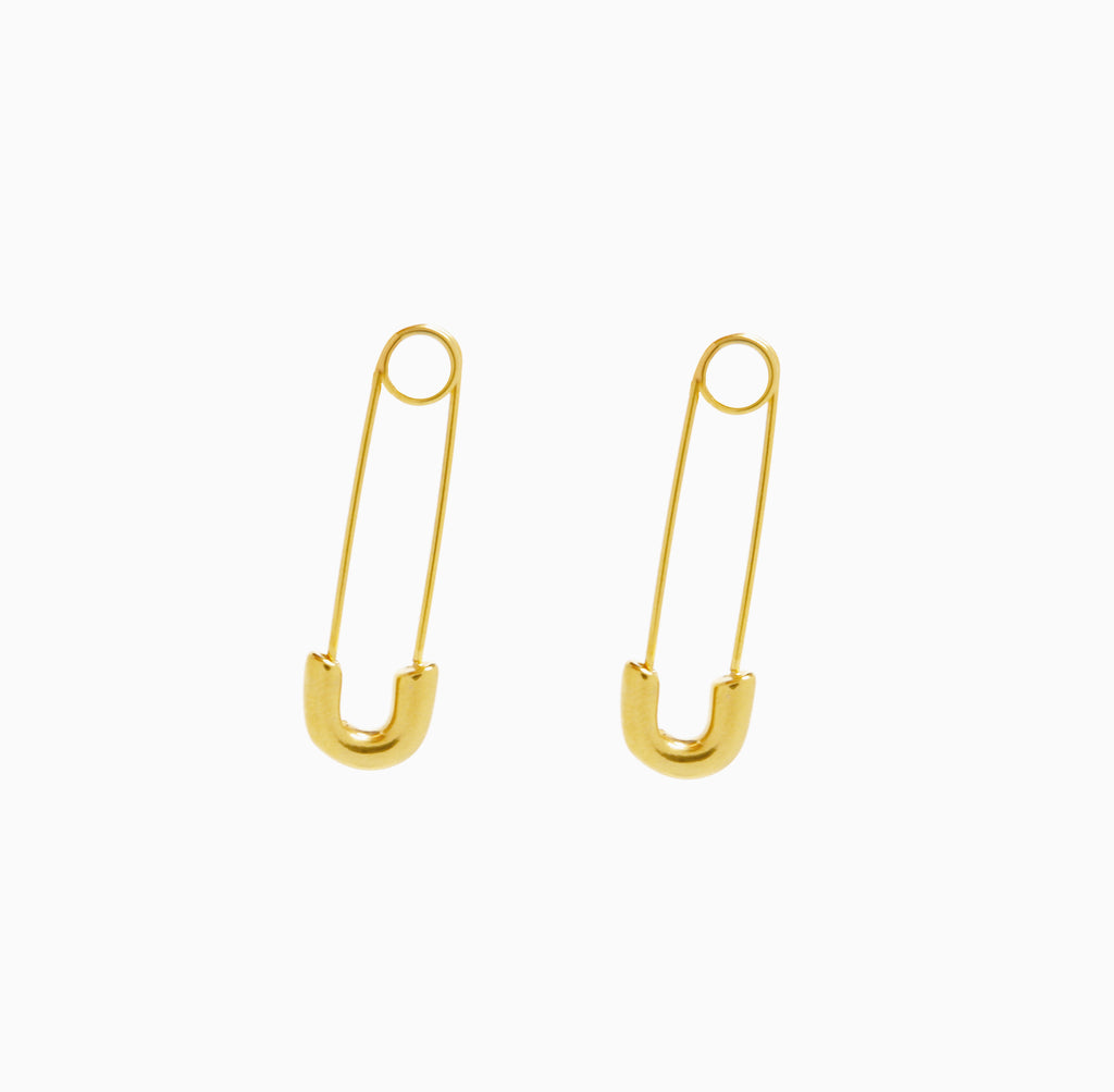 Safety Pin Earrings | Gold