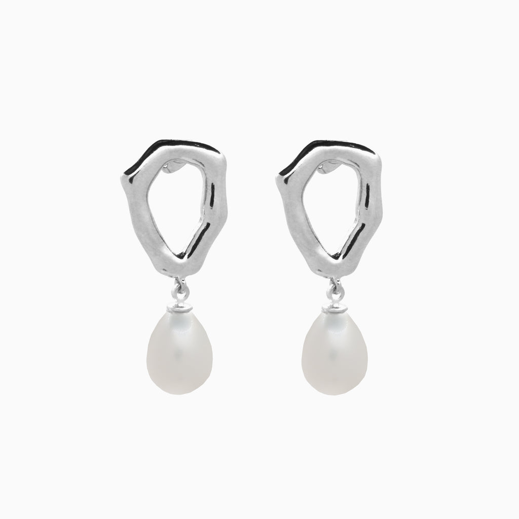 baroque pearl silver earrings