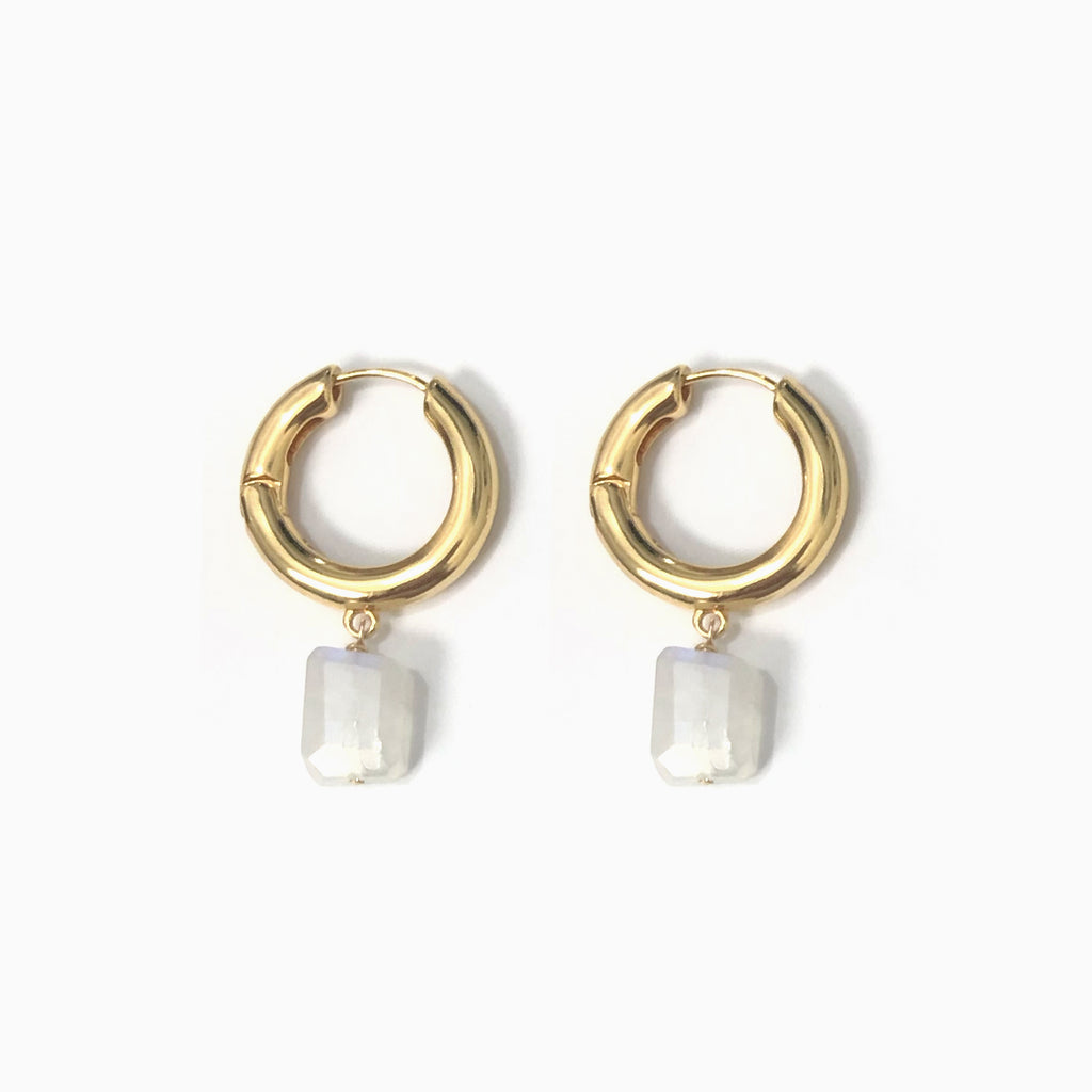 Gold Hoop Earrings | Moonstone