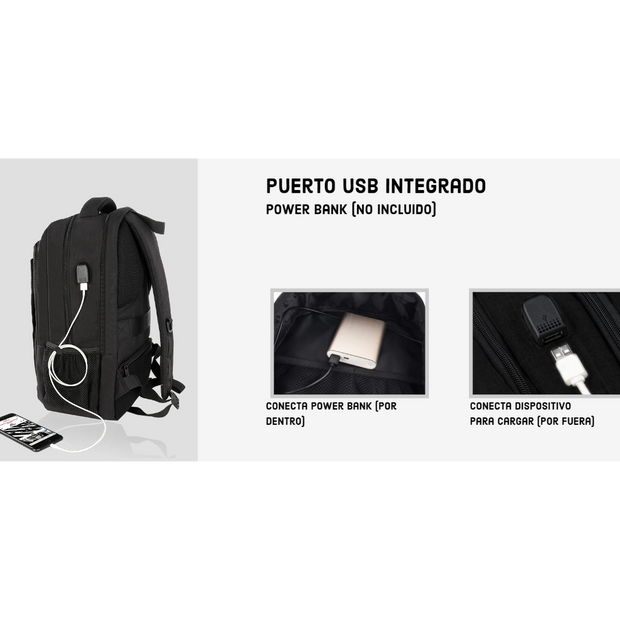 Bolso Travel Backpack + USB Integrado
