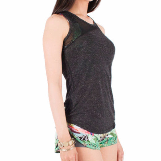 """Mesh A"" Racer Tank in Charcoal"