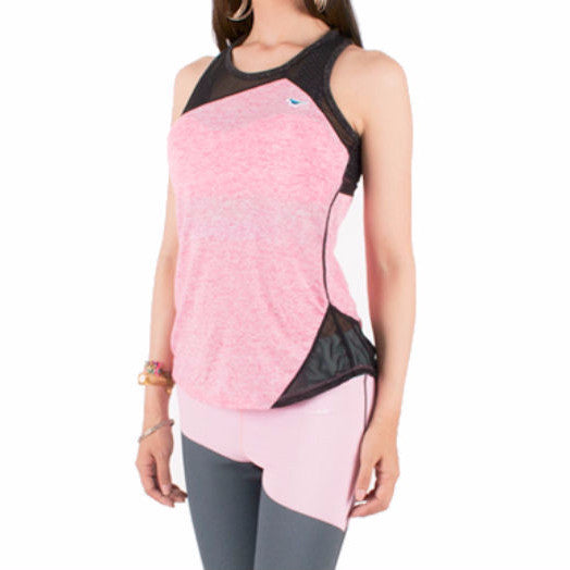 """Mesh A"" Racer Tank in Pink"