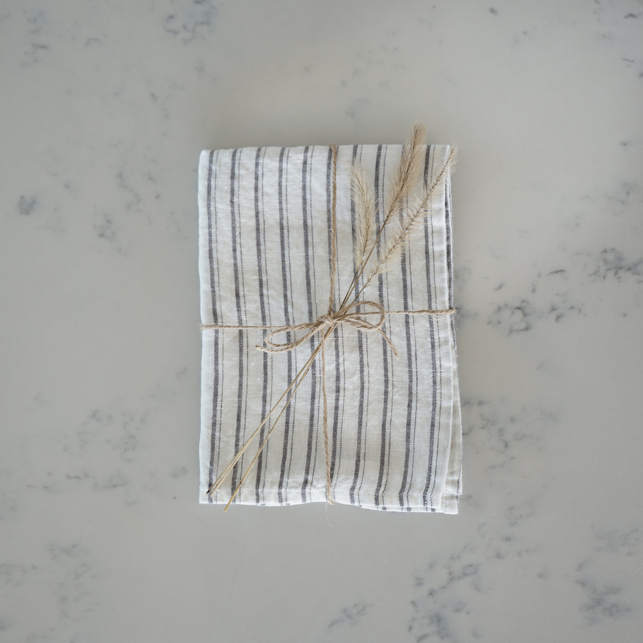 Linen Tea Towel - Grey Stripes