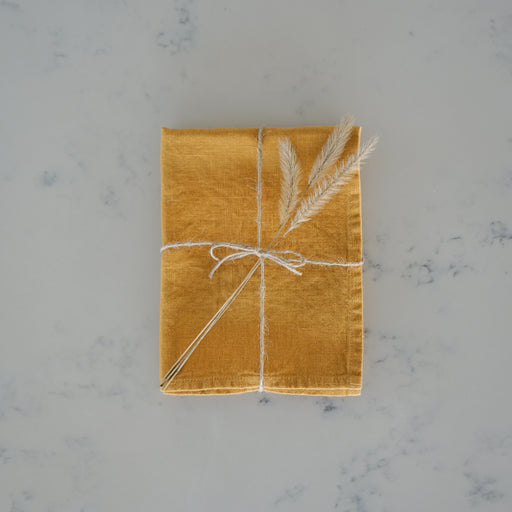 Linen Tea Towel - Mustard