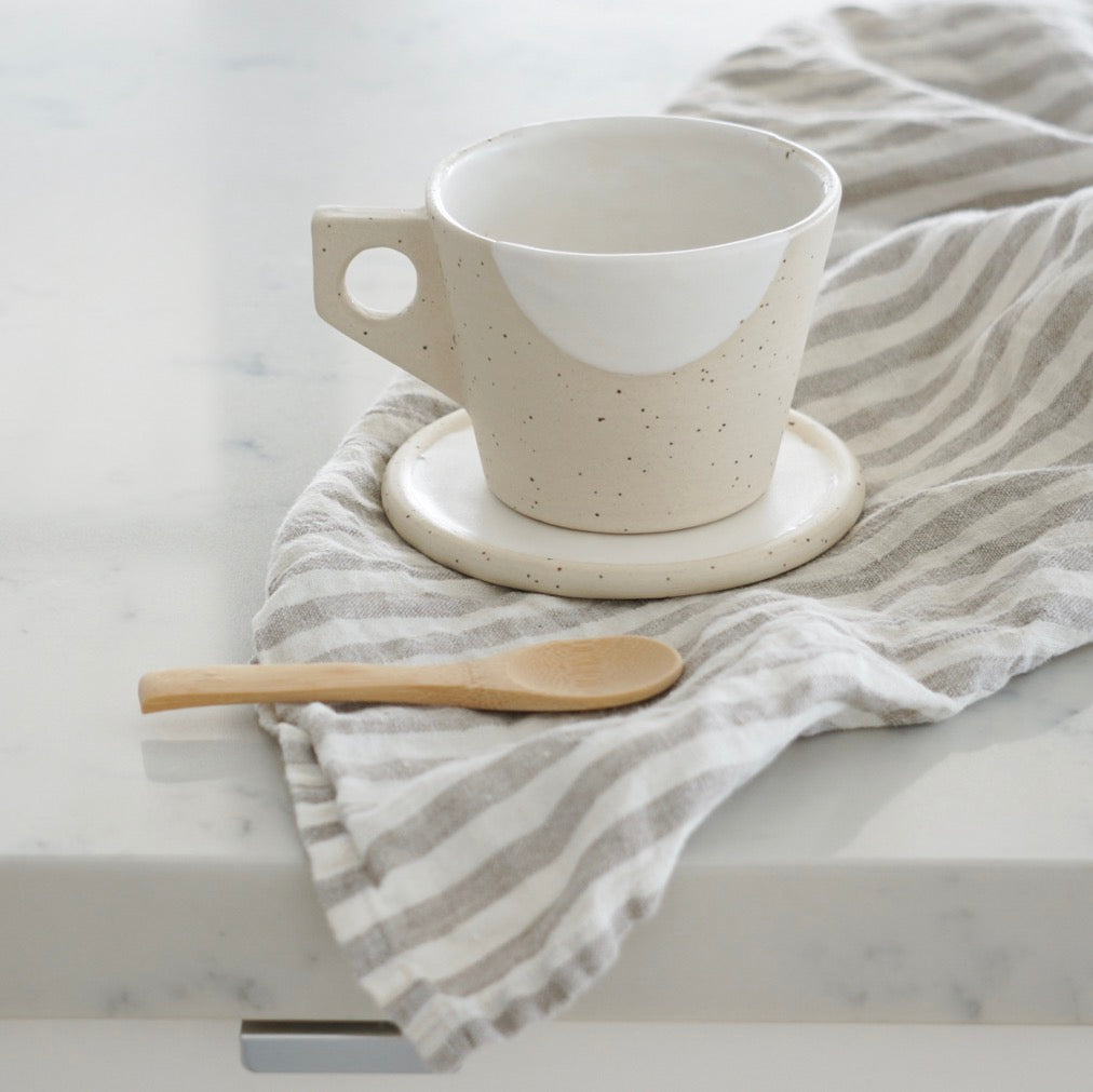 Linen Tea Towel - Natural Stripes