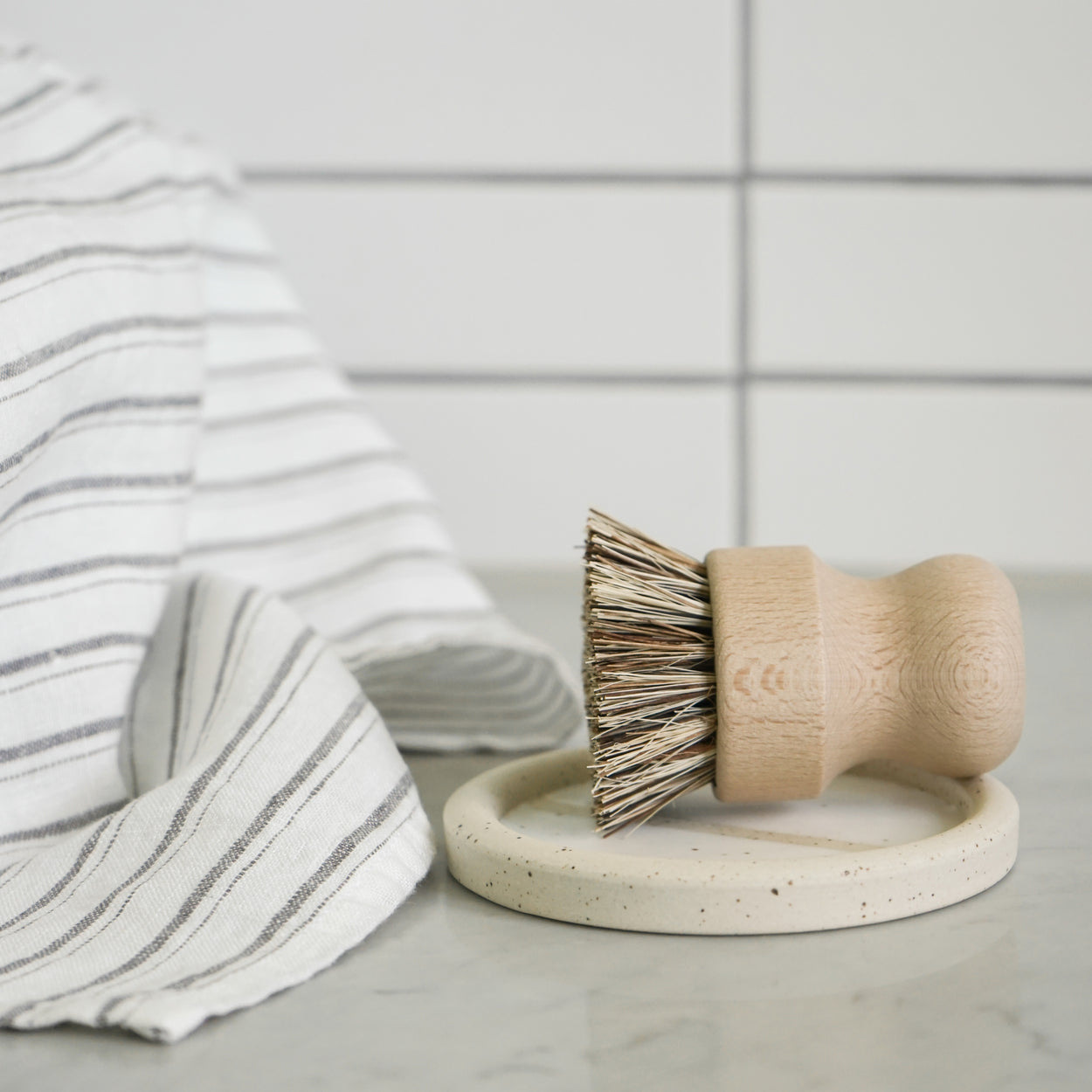 Wooden Scrub Brush with Ceramic Dish
