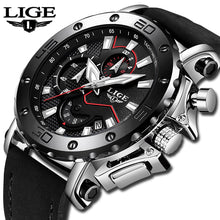 Load image into Gallery viewer, LIGE - Luxury Water & Shock Resistant Leather Analog Chronograph Wrist Watch for Men
