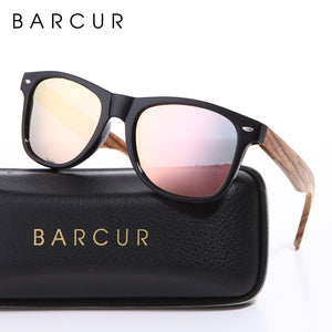 BARCUR Vintage Wooden Style Polarized Men's Sunglasses with Spring Hinge