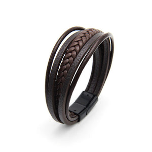 Armband - Multi layer Braided Cowhide Leather Bracelet with Magnetic Clasp