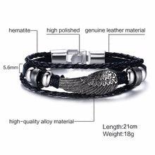 Load image into Gallery viewer, VNOX - Multi Layer Leather Rope Bracelet with Vintage Rudder Charm for Men