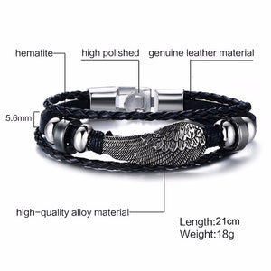 VNOX - Multi Layer Leather Rope Bracelet with Vintage Rudder Charm for Men