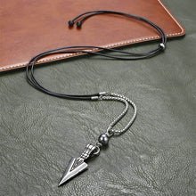 Load image into Gallery viewer, Unique Men's Necklace Silver Stainless Steel Arrow Pendant