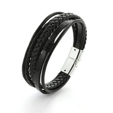 Load image into Gallery viewer, Armband - Multi layer Braided Cowhide Leather Bracelet with Magnetic Clasp