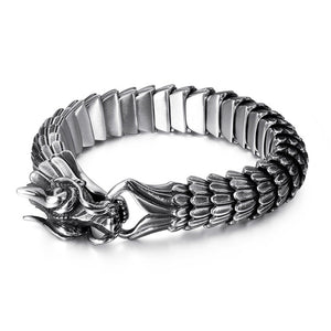 Fongten - Dragon Viking Stainless Steel Biker Link Chain Bracelet for Men