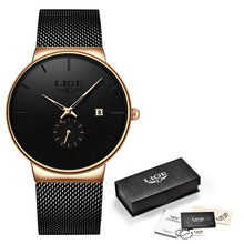 Load image into Gallery viewer, LIGE -  Luxury Black Ultra Thin Wrist Watch