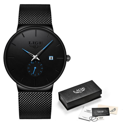 LIGE -  Luxury Black Ultra Thin Wrist Watch
