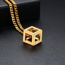 Load image into Gallery viewer, Vnox Retro Hollow Cube Pendant for Men