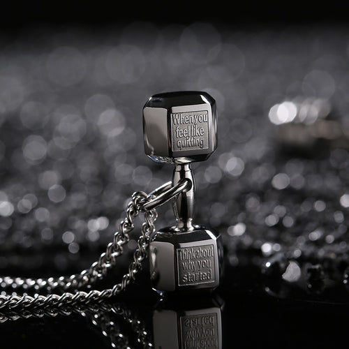 Barbell Fitness Pendant necklace for Men, Women, Couple
