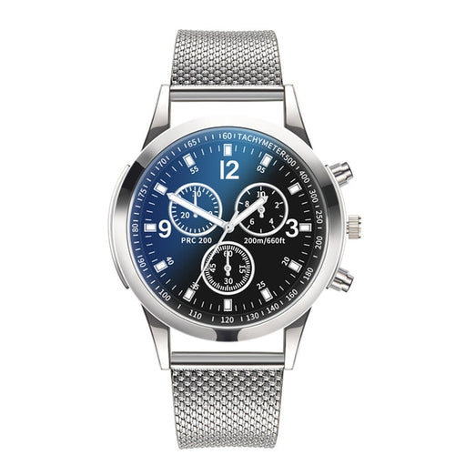 DISU - Classic Stainless Steel Dial Quartz Wrist Watch for Men