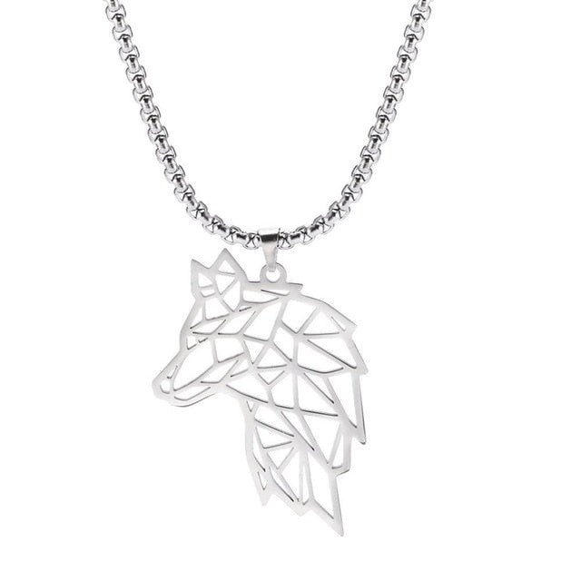 Yiwu Wolf Geometric Cut Out Necklace