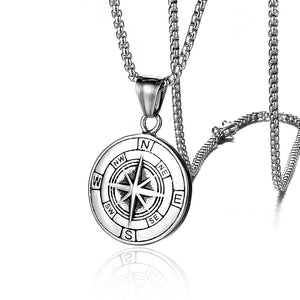 Stainless Steel Classic Antique Compass Gold Necklace Men