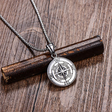 Load image into Gallery viewer, Stainless Steel Classic Antique Compass Gold Necklace Men