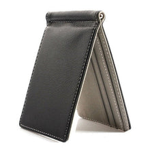 Load image into Gallery viewer, Faux Leather Slim Mens Credit Card Wallet Money Clip Contract Color Simple Design Burnished Edges Brand New Men Bifold Wallets