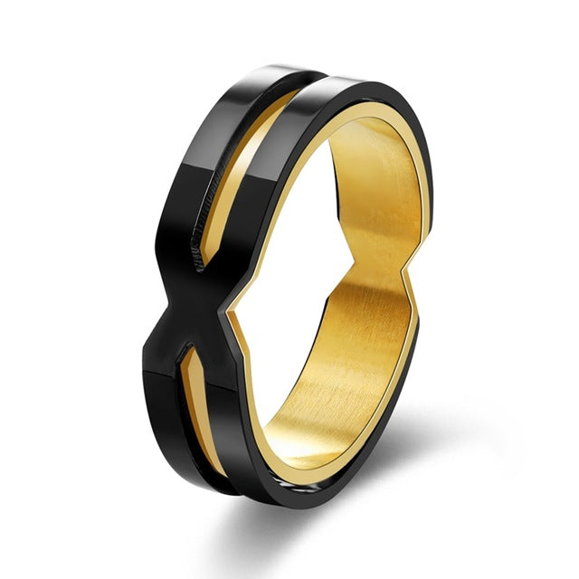 Beiliwol Rings for Men Vintage Shape X Stainless Steel Black Gold-color Punk Jewelry Men's Outdoor Gift Dropshipping