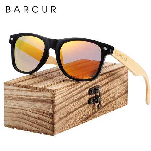 BARCUR Bamboo Polarized Spring Hinge Men's Sunglasses