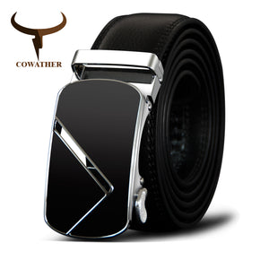Cowather Men's Genuine Leather Belt With Automatic Metal Buckle