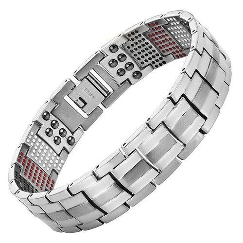 Vivari - Silver Plated Pure Titanium Magnetic Ion Bangle Bracelet For Men