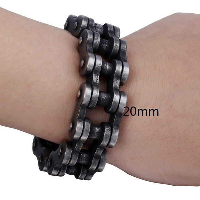 Davieslee - Stainless Steel Motorcycle Chain Patterned Punk Bracelet for Men