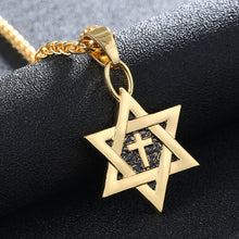 Load image into Gallery viewer, SONYA Hot Magen Star of David Cross Pendant & Necklace unisex