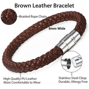 Davieslee - Braided Leather with Stainless Steel Clasp Bracelets for Men