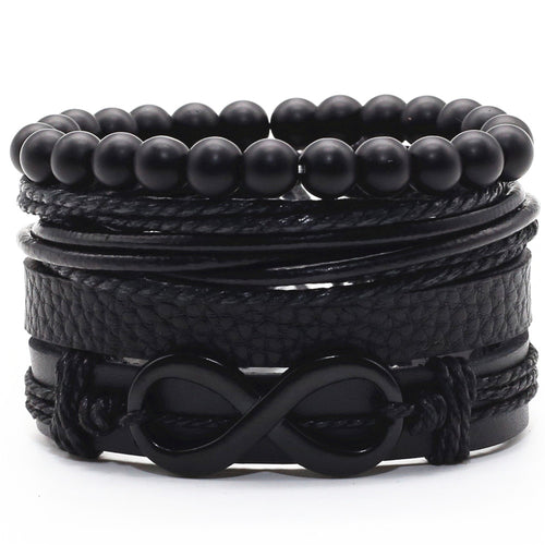 Multi Layer Braided Leather with Charms Infinity Bracelet for Men