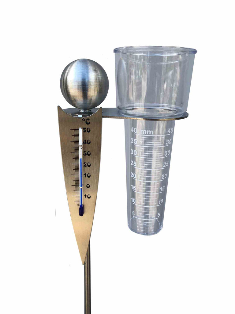 Analoge-Wetterstation, Regenmesser + Thermometer als Gartenstecker am Stab 125cm