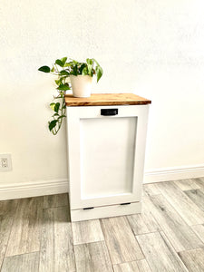 Single Trash Bin Cabinet, Tilt Out Doors, Wood Trash Recycle Bin, Laundry Hamper