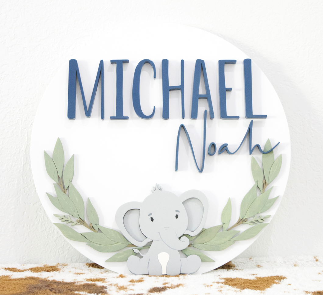 Custom Elephant/Greenery Design