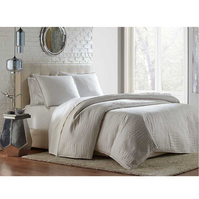 BRILLIANCE 3PC QUEEN COVERLET/ DUVET WHITE