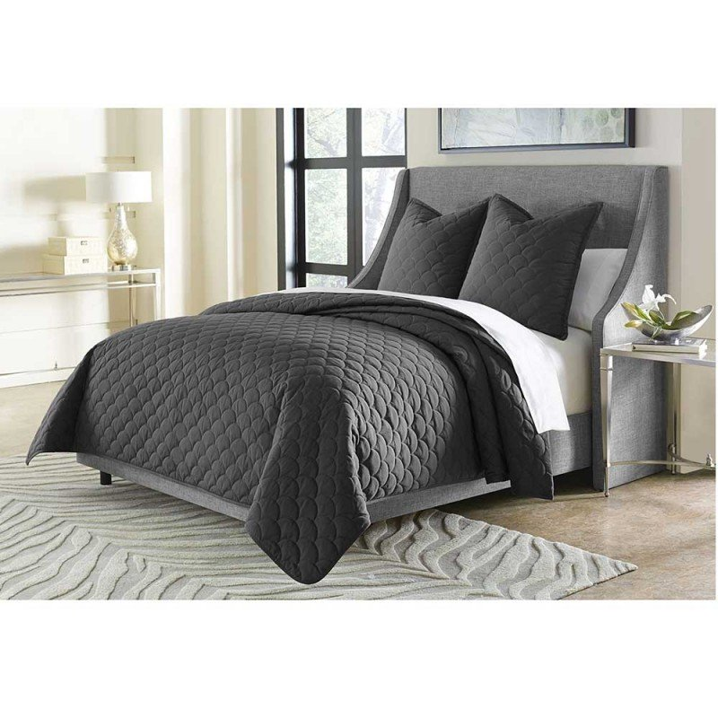 MCKENNA 3PC KING COVERLET SET CHARCOAL