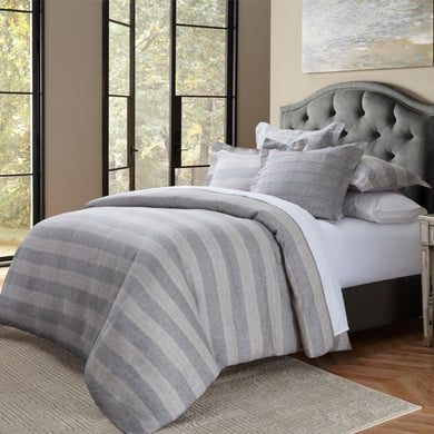 ALBANY 5PC QUEEN DUVET SET GRAY