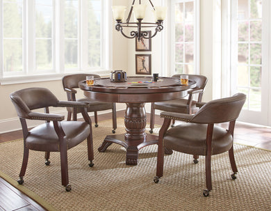 TOURNAMENT 6 PIECE DINING/GAME TABLE SET - BROWN CHAIRS